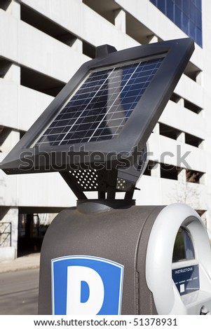 Pay for parking here! Machine powered by solar energy.