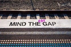 Pay gap, Mind the pay gap graffiti in pink, Gender pay equality concept illustration