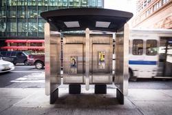 Pay phone on New York City urban street corner
