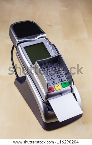 Pay with Smart Card with Electronic Chip at Pay Terminal