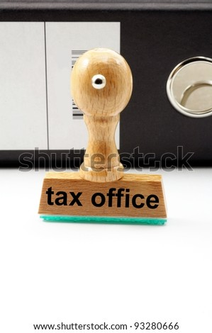 pay your taxes concept with stamp in office and copyspace