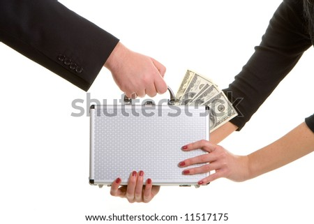 paycheck over white background