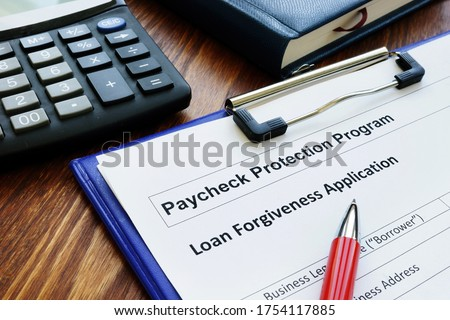Paycheck protection program ppp loan for small business forgiveness application. Stock photo ©