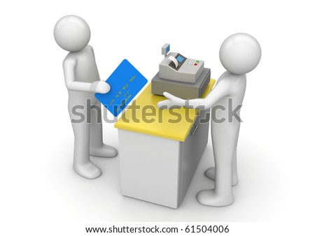 Paying by credit card on cash desk - Finance collection