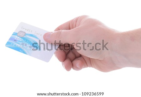 paying with credit debit card isolated on white background