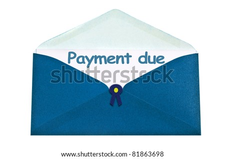 Payment due letter in blue envelope