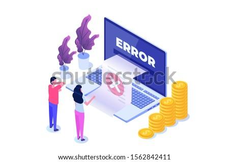 Payment error info message isometric concept. Customer cross marks failure.  illustration. ストックフォト ©