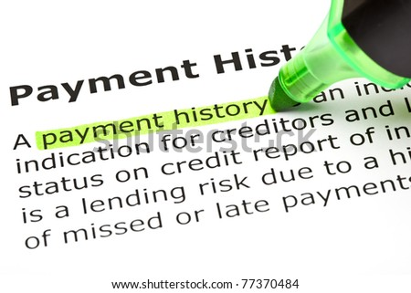 Payment history highlighted in green with felt tip pen.