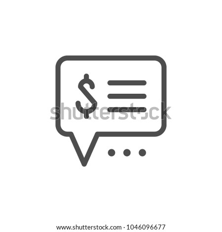 Payment info line icon isolated on white