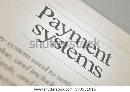 Payment systems: newspaper headlines with text background #590531015