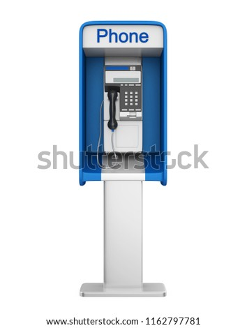 Payphone Booth Isolated. 3D rendering