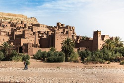 paysage of the old castel of ait ben haddou in south of morocco .