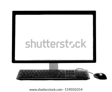PC Desktop Computer with Blank White Screen isolated on a white background