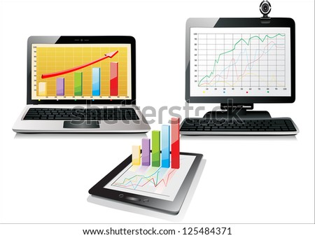 PC, laptop and tablet with business graph