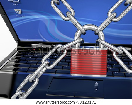 Pc security. Laptop with chain and lock. 3d