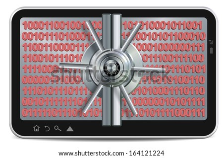 PC tablet screen made as a safe with binary code behind it / Data protection