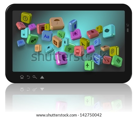 PC tablet with different application icons on its screen / Apps on tablet