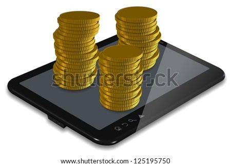PC tablet with stacks of golden coins / Making money PC tablet - stock photo