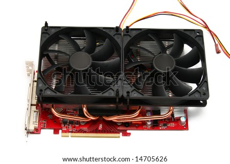 pc video card with big cooler with two 120x120mm fans