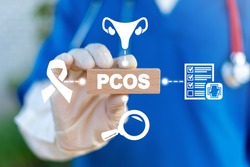 PCOS Polycystic Ovary Syndrome Health Care concept. Doctor holds wooden block with pcos abbreviation.