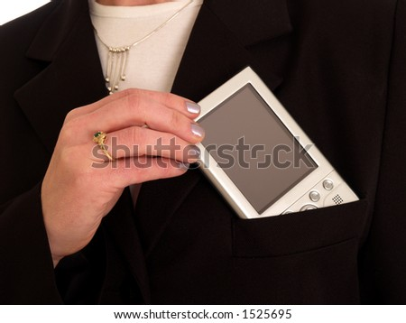 pda in a pocket - stock photo