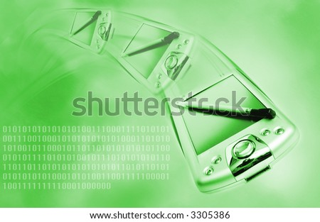 Pda on green abstract background