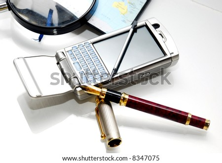 pda phone on the white background - stock photo