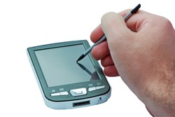 PDA phone with touch screen and stylus in hand.