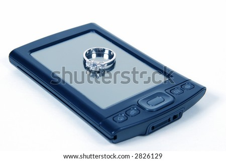 PDA with wedding ring, and overall blue tone