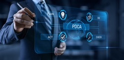 PDCA Plan Do Act Check Business technology concept.