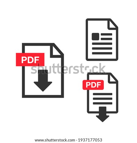 PDF Download icon. File download icon. Document text, symbol web format information Foto d'archivio ©
