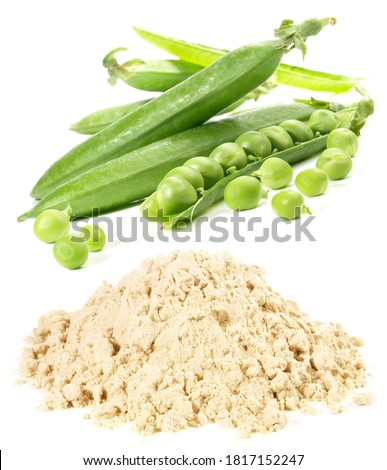 Pea Protein Powder with Peas on white Background, isolated. Stockfoto ©