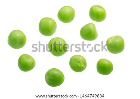 Pea seeds (Pisum sativum), fresh, isolated, top view