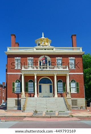 Peabody beautiful and historic Custom House from the period the city was both a busy port and industrial hub in Massachusetts Stok fotoğraf ©