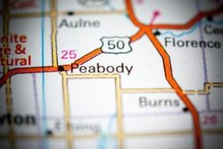 Peabody. Kansas. USA on a map