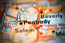 Peabody. Massachusetts. USA on a geography map
