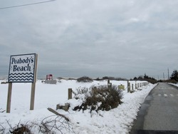 Peabody's Beach in Middletown, Rhode Island on a snowy day.