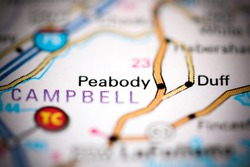 Peabody. Tennessee. USA on a geography map