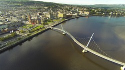 Peace bridge Derry Londonderry from the air