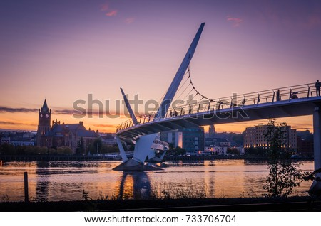 Peace bridge Derry Londonderry Northern Ireland City of Culture
