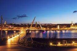 Peace Bridge in Derry. Derry, Northern Ireland, United Kingdom.