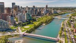 Peace Bridge over Bow River in Calgary, Alberta, Canada