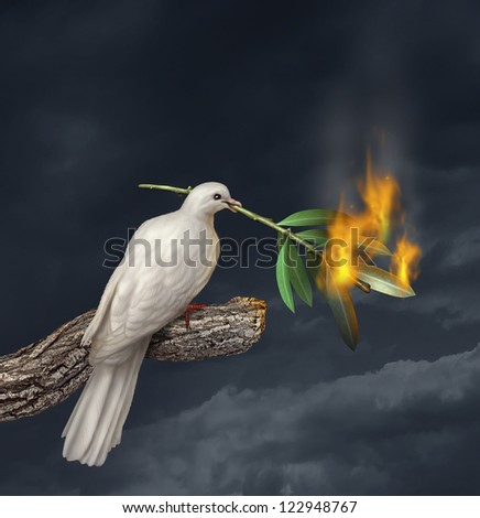 Peace crisis concept with a white dove standing on a tree holding an olive branch on fire as a symbol of fighting and search for a truce or agreement in the middle East or other countries at war.
