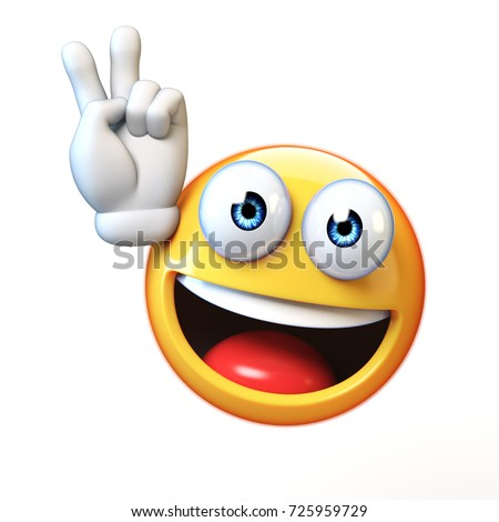Peace emoji isolated on white background, victory emoticon 3d rendering