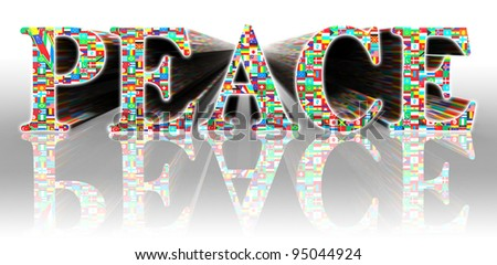 peace flags word and earth globe on white background with clipping path - stock photo