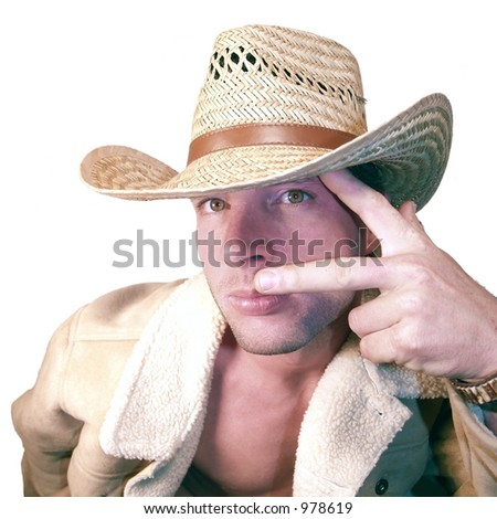 peace from cowboy! - stock photo