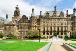 Peace Gardens Park and The City Hall of Sheffield.