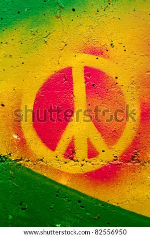 Peace graffiti sign on the wall