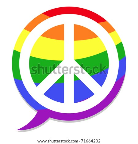 peace icon rainbow speach bubble