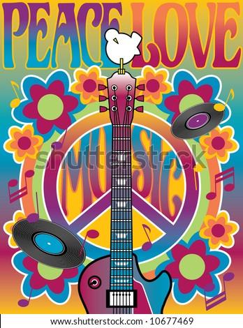 Peace Love Music  illustration of a guitar, peace symbol and dove. A tribute to the Woodstock Music and Art Fair of 1969. Vector also available.